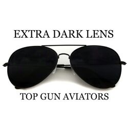 PILOT AVIATOR SUNGLASSES SILVER DARK BLACK LENS POLICE CLASSIC TOP GUN AIR FORCE