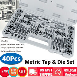 40pcs Carbon Steel Sae And Metric Tap And Die Set Adjustable Wrench T-handle Case
