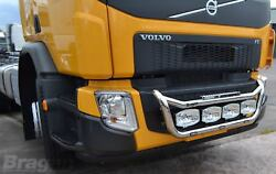 To Fit Volvo FE 2013+ Steel Front Grill Light Bar C + 4 Oval Spots + Side LED