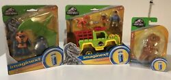 Jurassic World Imaginext Dr. Grant And 4 X 4, T-rex And Park Workers And Pterodactyl
