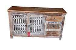 Handmade Antique Recycle Wood Sideboard Buffets Storage 2 Grill Door 3 Drawers