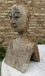 Antique American Life Size Wood Carving Chinese Buddhist Asian Interior Decor Il
