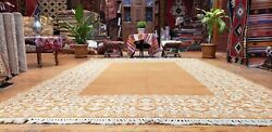 Masterpiece 1960and039s Vintage Wool Pile Natural Dye Decorative Oushak Rug 7x10ft