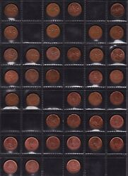 Canada 1 Cent Coin Collection Dates From 1962 To 2007 All Different 37 Coins