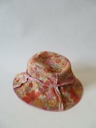 WOMENS DOLCE VITA FLORAL FAUX LEATHER HANDMADE CREAM PINK BUCKET HAT * $25.99