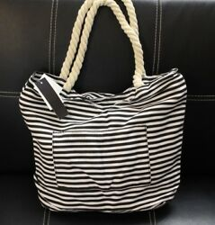 Fashion Striped Tote Beach Bag With Rope Handles $10.99