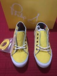 Womens Sneakers Shoes Phillip Simon Yohan Yellow Sz 6 W/laces And Zipper Canvas