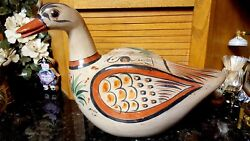 Huge 17l Vintage Hand Painted And Hand Made Duck Tonala Mexico Signed
