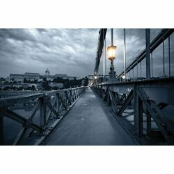 Old Bridge At Night In Budapest, Hungary Canvas Painting For Gallery Space
