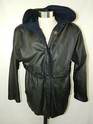 Climate Zone Hooded Leather Jacket Womens Size Medium Padded Shoulders Waist Tie