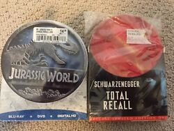 Jurassic World And Total Recall Special Limited Edition Dvd Metal Round Tins