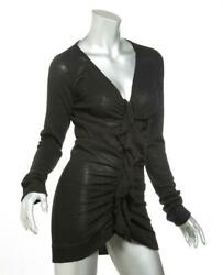 GIVENCHY Women Black Knit Ruffle Front Button V Neck Long Cardigan Sweater M NEW $156.00