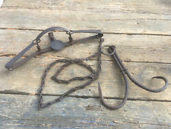 Newhouse 4 Long Spring Trap With Two Prong Grapple Drag And Chain