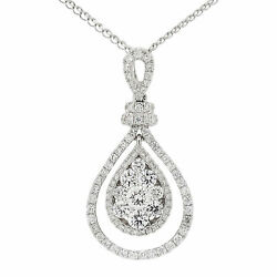 18k White Gold 1.04ct Tdw White Diamond Pear Shaped Cluster Pendant Necklace