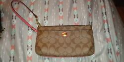 Authentic! Coach Leather Large Wristlet Wallet Brown And Salmon Pink