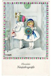 Postcard Ebner New Year Girls In Winter Hats And Coats Np