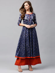 Blue Printed Indian Pakistani Anarkali Kurta Kurti Designer Women Tunic