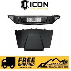 Icon Impact Series Front Bumper W/ Skid Plate For 17-20 Ford Raptor 95153 Black