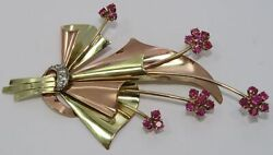BAILEY BANKS BIDDLE Large Vintage 14K Rose & Yellow Gold RUBY Flower Brooch Pin