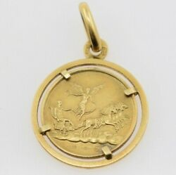 18k Yellow Gold Unoaerre Angel And Taurus Coin Pendant By Pietro Giampaoli