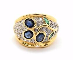 18k Yellow Gold 0.98cttw Diamond Sapphire And Emerald Fashion Ring