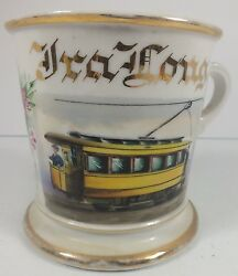 Great Vintage Limoges France Occupational Mug Trolley Car And Conductor Ira Long