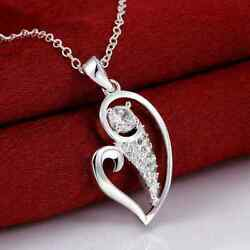 Fashion 925sterling Solid Silver Jewelry Crystal Heart Pendants Necklace N695