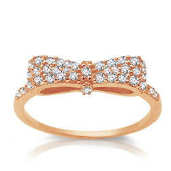 Rose Gold Plated Clear Cz Ribbon Bow Sterling Silver Ring