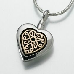 Sterling Silver Heart With 14k Gold Memorial Pendant Funeral Cremation Urn