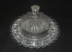Antique Pattern Glass Eapg Covered Butter Dish Moon Feather Star Unknown Pattern