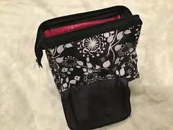 Thirty-One Timeless Beauty Cosmetic Bag 2 piece Set Black Floral Brushstrokes