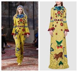 NWT Cruise 2016 Gucci Yellow Embellished Lace Gown SZ 42 Runway