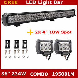 36inch 234w Led Work Light Bar Flood Spot Combo Offroad Boat 4wd Lamp+2x18w Pods