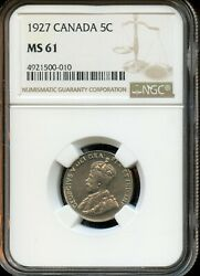 1927 CANADA 5C NGC MS 61 (MINT STATE 61) CANADIAN 5C COIN FG321