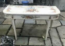 Vintage Custom Floral Paint Decorated Demilune Hall Console Table