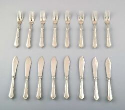 Complete Danish Silver .830 Fish Service For 8 P. Christian Fr. Heise. 1910/20