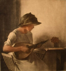 Peter Ilsted 1861-1933. Interior With Mandolin Playing Young Woman. Mezzotinte