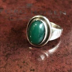 Georg Jensen Ring Jewelry Women Ladies Silver 925 Green Agate Rare Collectible
