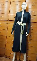 DRESS TUNIC MID-CALF BELTED STRETCH COTTON THUMB LONG SLEEVES MADE IN EUROPE L