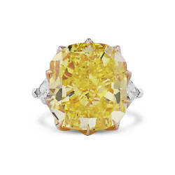 34.90Ct Radiant Cut Fancy Intense Yellow Diamond Ring Natural 18K White Gold GIA