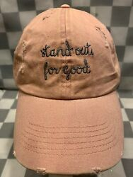 STAND OUT FOR GOOD Pink Distressed Adjustable Adult Cap Hat