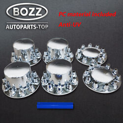 Front And Rear Axle Cover Combo Kit, Chrome, 33 Mm Thread-on - W/ Nut Cover Tool