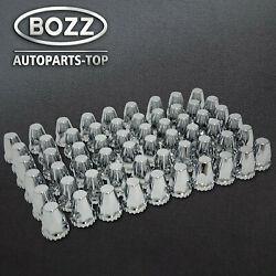 60 Chrome Abs Threaded Lug Nut Covers With Flange 33mm And 32mm