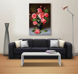 Rose With Life In The Pot Canvas Painting Interior Room Home Wall Office Sticker