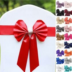 Reversible Satin And Faux Leather Bow Tie Chair Sashes With Buckles Wedding Sale