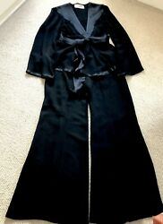 Ossie Clark Rare Vintage Black Crepe And Satin Trouser Suit Size 12. 1969 To 1970