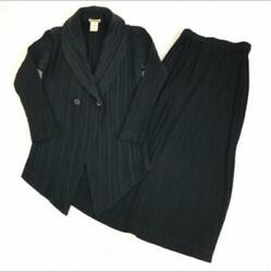 90and039s Issey Miyake Pleated Suits Jacket Skirt Set Size M Vintage Rare From Japan