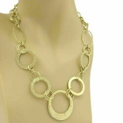 Ippolita Hammered Assorted Size Open Circle 18k Gold Link Necklace