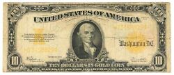 Series Of 1922 Large Size 10 Gold Certificate United States Note Vintage