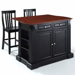 Crosley Coventry Drop Leaf Kitchen Island With School House Stools In Black
